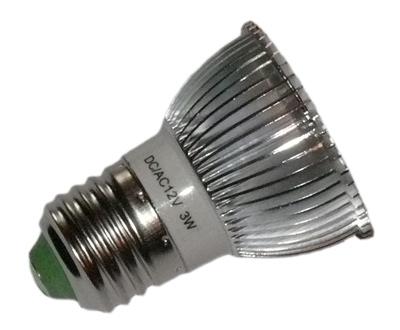 led lampe 12 volt dc 3x1 watt e27 alu gerippt www. Black Bedroom Furniture Sets. Home Design Ideas